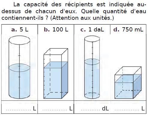 Capacités de récipients : exercices en CM2.