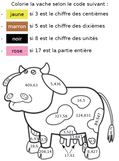 Colorier la vache : exercices en CM1.