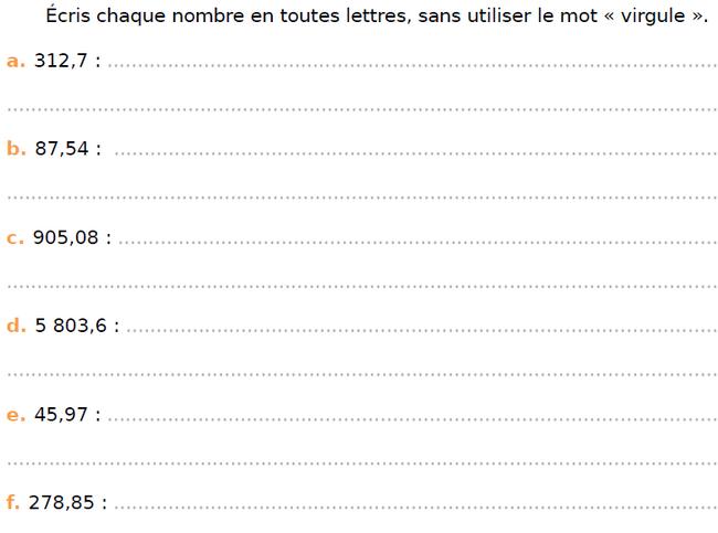 Ecrire des nombres en lettres : exercices en CM1.