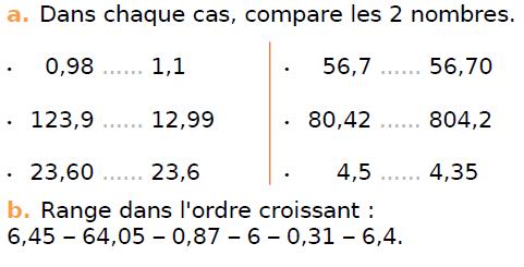Comparer des nombres décimaux : exercices en CM1.