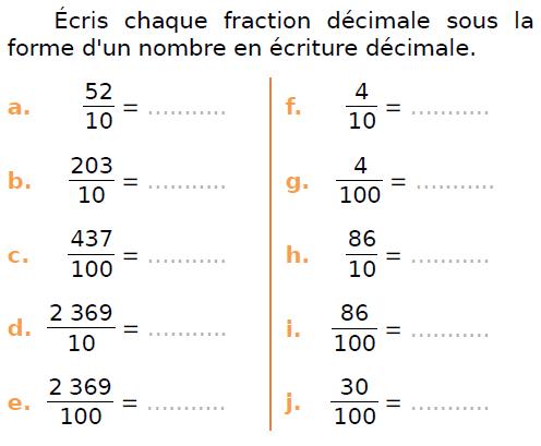 Ecrire des fractions décimale en nombre décimal : exercices en CM1.
