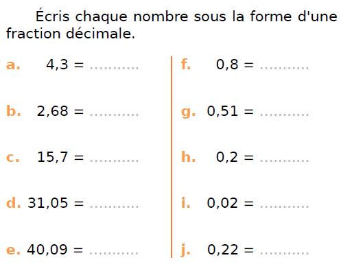 Ecrire  sous la forme d'une fraction décimale : exercices en CM1.