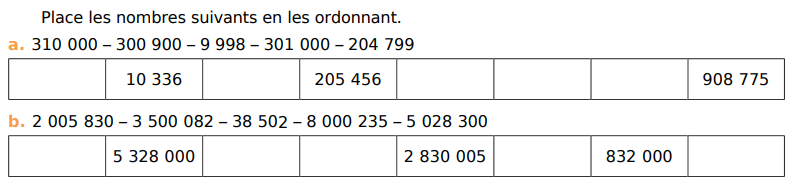 Ordonner des nombres : exercices en CM1.