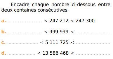 Des nombres à encadrer : exercices en CM1.
