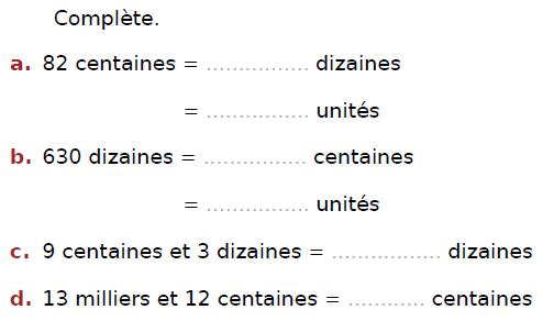 Position d'un nombre entier : exercices en CM2.