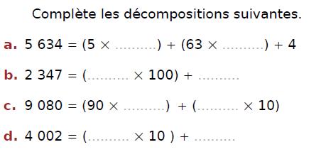 Décompositions d'un entier : exercices en CM2.
