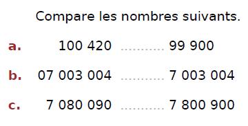 Comparer des nombres : exercices en CM2.