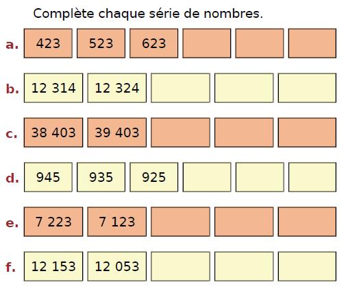 Compléter chaque série de nombres entiers : exercices en CM2.