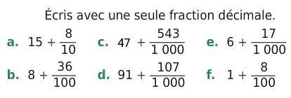 Fraction décimale : exercices en 6ème.