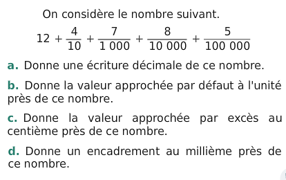 Les nombres décimaux : exercices en 6ème.