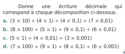 Ecriture décimale correspondante : exercices en 6ème.