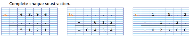 Soustractions et calculs : exercices en CM1.