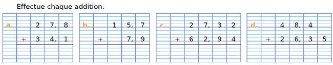 Effectuer chaque addition : exercices en CM1.