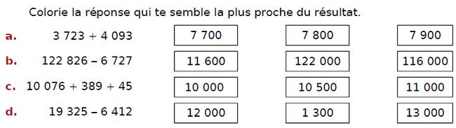 Ordre de grandeur d'une addition et d'une soustraction : exercices en CM2.