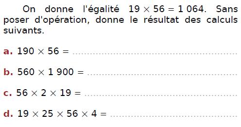Calculer des produits : exercices en CM2.