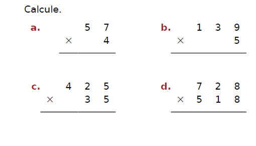 Poser des multiplications : exercices en CM2.