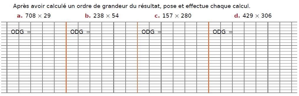Ordre de grandeurs et multiplications : exercices en CM2.