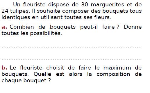 Problème du fleuriste : exercices en CM2.
