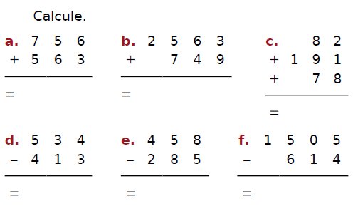 Calculer des additions : exercices en CM2.