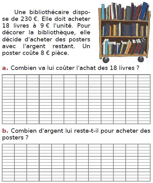 Problème du bibliothécaire : exercices en CM2.