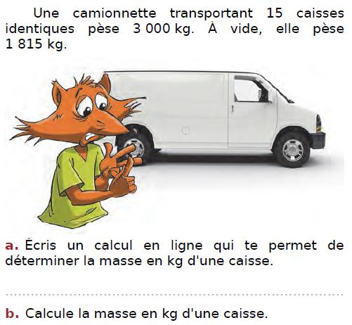problème de la camionnette : exercices en CM2.