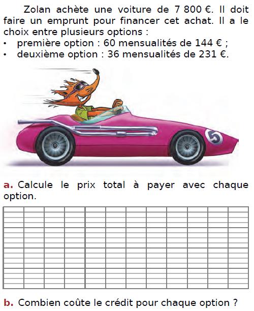 problème de la voiture : exercices en CM2.
