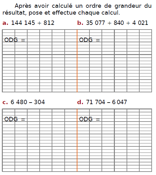 Poser des additions : exercices en CM2.