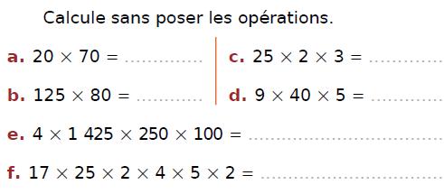 Calcul mental et multiplication : exercices en CM2.