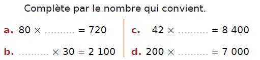 Calcul mental : exercices en CM2.