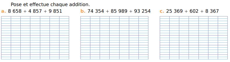 Additions à trois termes : exercices en CM1.