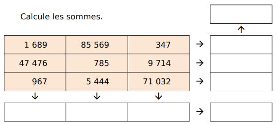 Calculer des sommes : exercices en CM1.