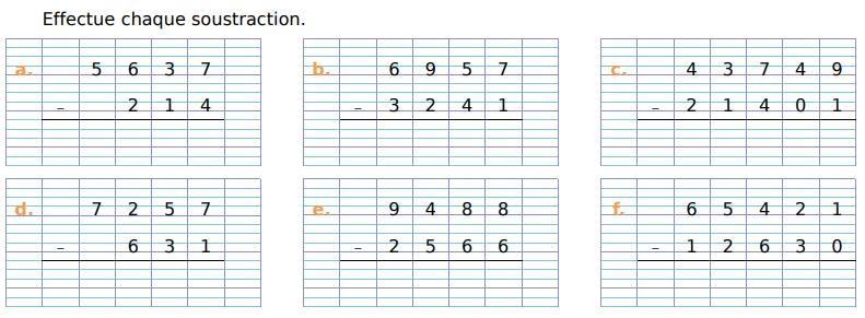 Effectuer chaque soustraction : exercices en CM1.