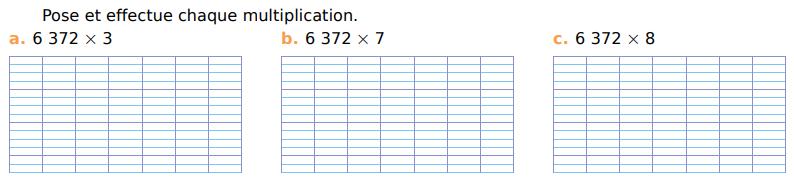 Poser des multiplications : exercices en CM1.
