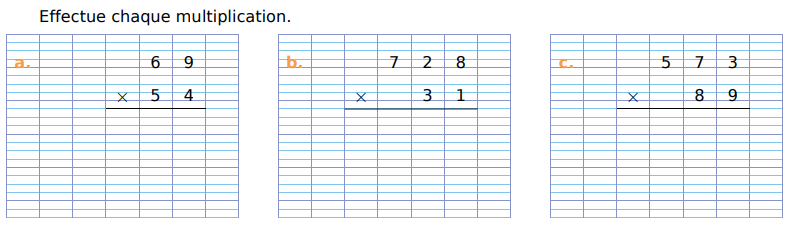 Effectuer des multiplications  : exercices en CM1.