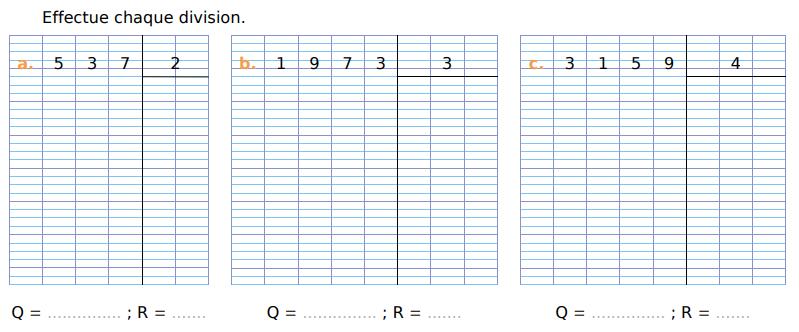 Effectuer une division : exercices en CM1.