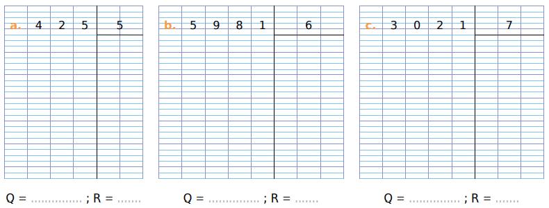 Poser des divisions : exercices en CM1.