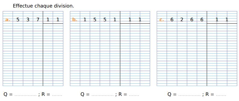 Calculer chaque division : exercices en CM1.