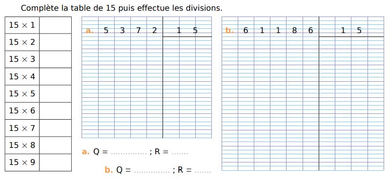 Compléter la table du 15 puis effectuer les divisions : exercices en CM1.