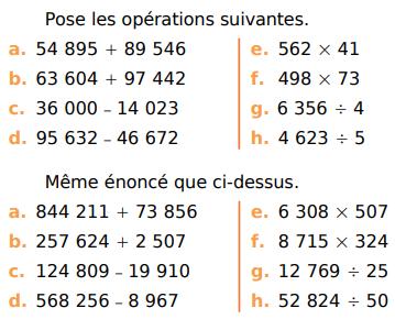 Addition, soustraction, multiplication et division : exercices en CM1.