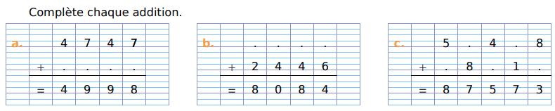 Compléter chaque addition : exercices en CM1.