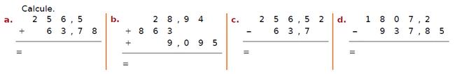 Addition de nombres décimaux : exercices en CM2.