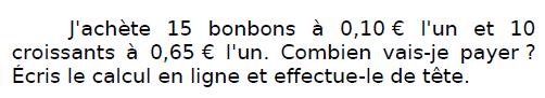 Problème des bonbons : exercices en CM2.