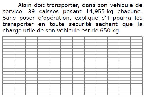 Problème de transport de caisses : exercices en CM2.