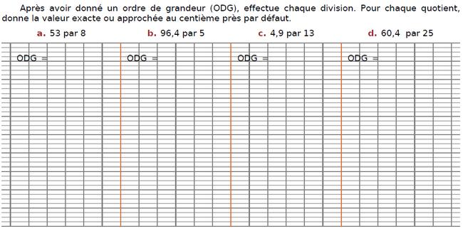 Effectuer chaque division : exercices en CM2.