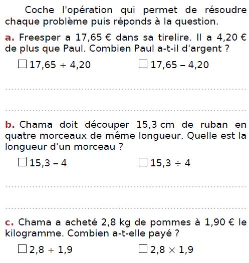 Cocher l'opération solution du problème : exercices en CM2.
