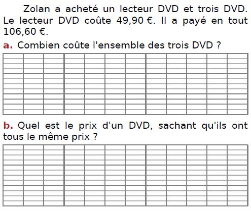 Problème de DVD : exercices en CM2.