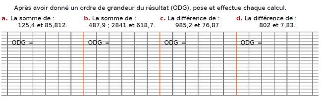 Somme et différence : exercices en CM2.