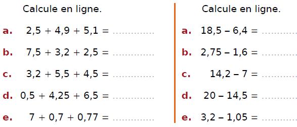 Calculer en ligne des additions et soustractions : exercices en CM2.