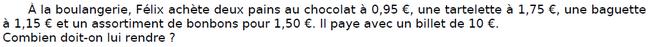Problème de la boulangerie : exercices en CM2.