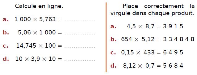 Calculer en ligne des multiplications : exercices en CM2.